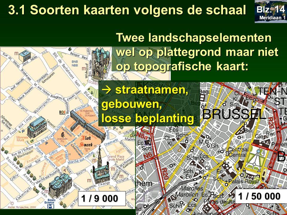 Jaarlijkse neerslag Natuurkundige kaart Onderwerpen: Klimaat,plantengroei,reliëf,… 3.2 Soorten kaarten volgens onderwerp Meridiaan 1 Meridiaan 1 Blz.