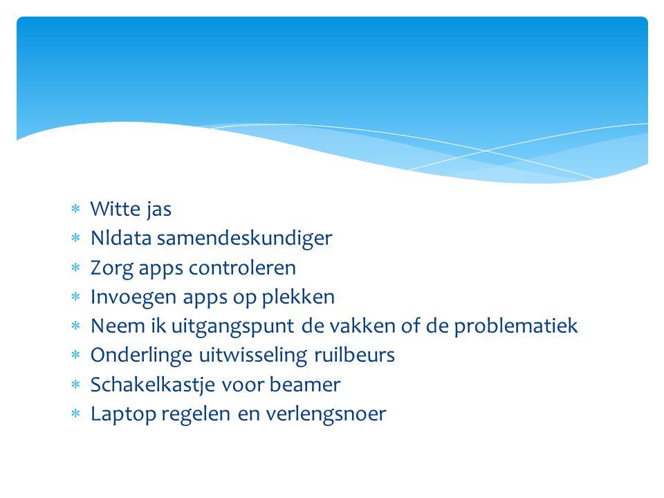 Witte jas  Nldata samendeskundiger  Zorg apps controleren  Invoegen apps op plekken  Neem ik uitgangspunt de vakken of de problematiek  Onderlinge uitwisseling ruilbeurs  Schakelkastje voor beamer  Laptop regelen en verlengsnoer