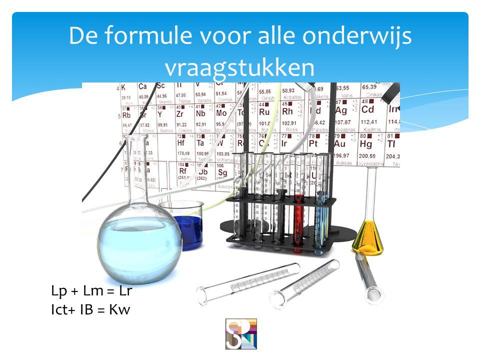 De formule voor alle onderwijs vraagstukken Lp + Lm = Lr Ict+ IB = Kw