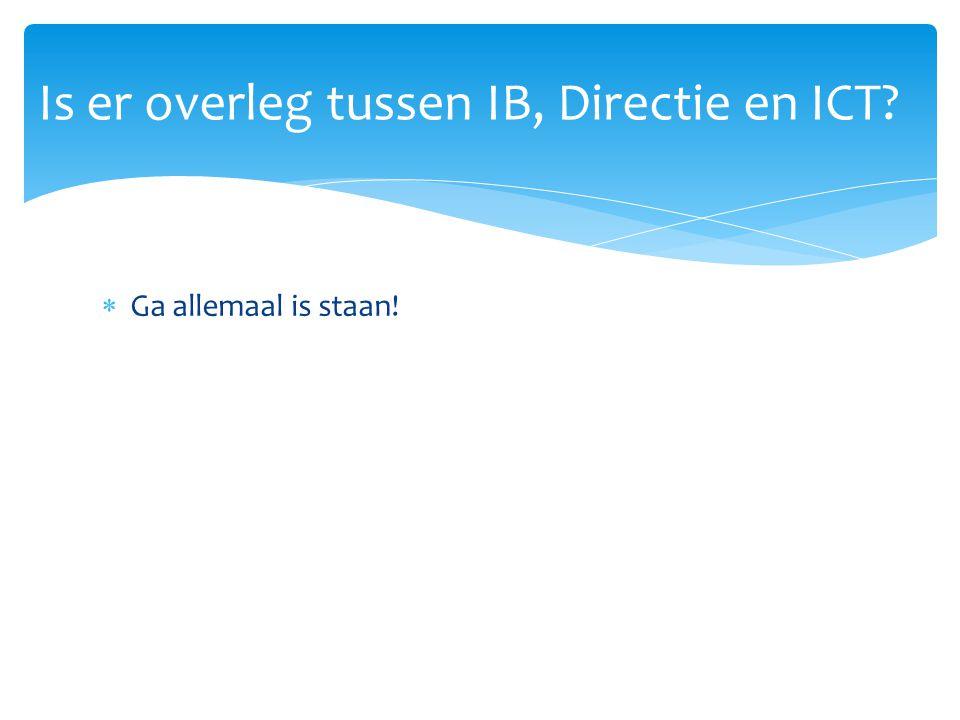  Ga allemaal is staan! Is er overleg tussen IB, Directie en ICT?
