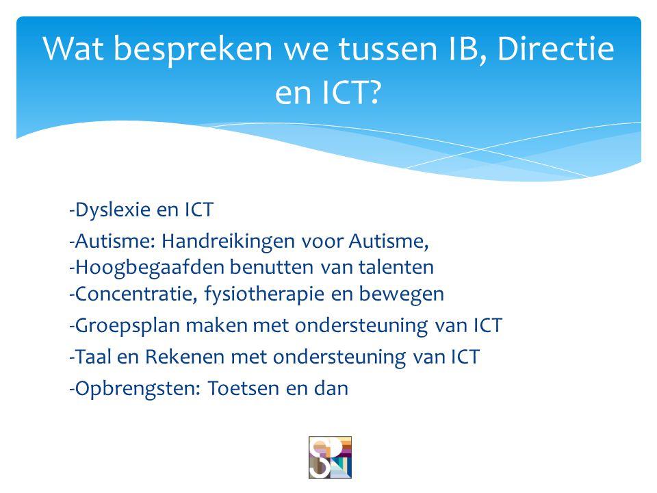 -Dyslexie en ICT -Autisme: Handreikingen voor Autisme, -Hoogbegaafden benutten van talenten -Concentratie, fysiotherapie en bewegen -Groepsplan maken met ondersteuning van ICT -Taal en Rekenen met ondersteuning van ICT -Opbrengsten: Toetsen en dan Wat bespreken we tussen IB, Directie en ICT?