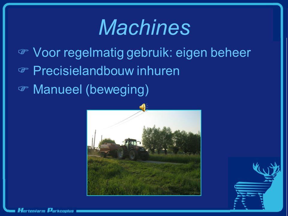 Machines  Voor regelmatig gebruik: eigen beheer  Precisielandbouw inhuren  Manueel (beweging)