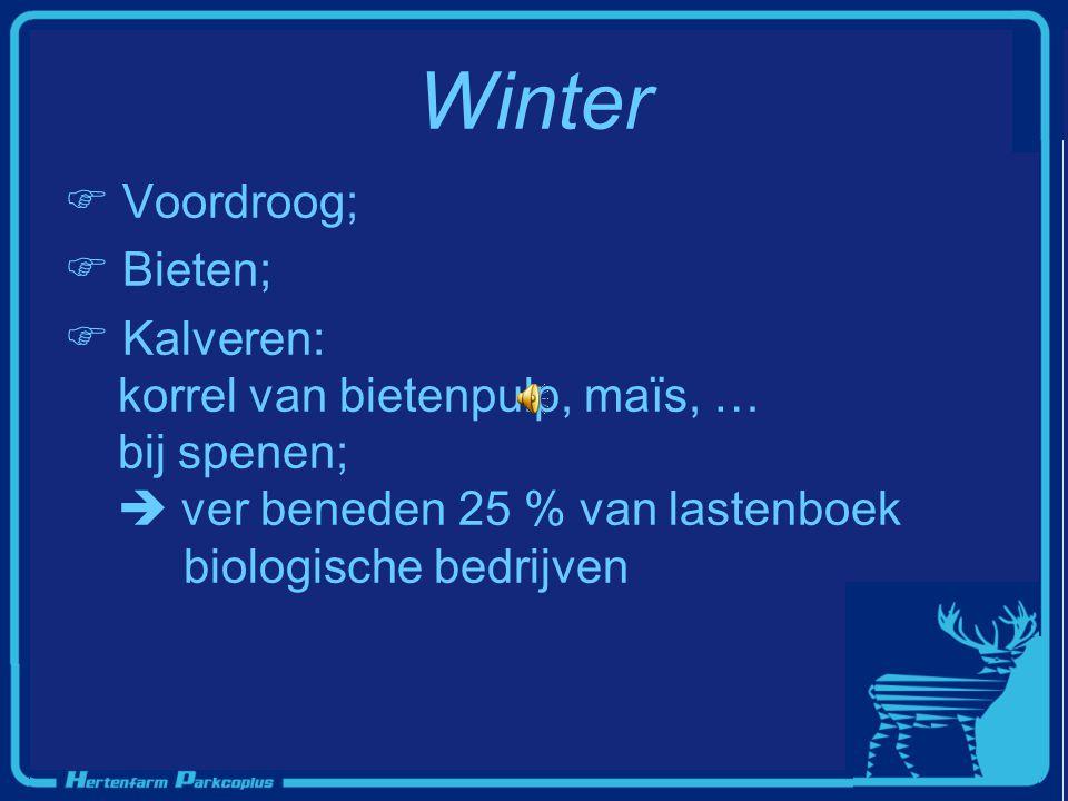 Winter  Voordroog;  Bieten;  Kalveren: korrel van bietenpulp, maïs, … bij spenen;  ver beneden 25 % van lastenboek biologische bedrijven