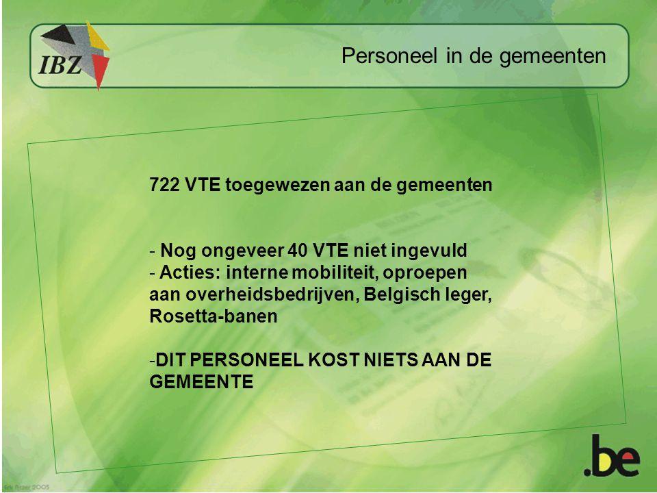 Personeel in de gemeenten 722 VTE toegewezen aan de gemeenten - Nog ongeveer 40 VTE niet ingevuld - Acties: interne mobiliteit, oproepen aan overheidsbedrijven, Belgisch leger, Rosetta-banen -DIT PERSONEEL KOST NIETS AAN DE GEMEENTE