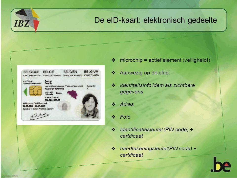  microchip = actief element (veiligheid!)  Aanwezig op de chip:  identiteitsinfo idem als zichtbare gegevens  Adres  Foto  Identificatiesleutel (PIN code) + certificaat  handtekeningsleutel(PIN code) + certificaat De eID-kaart: elektronisch gedeelte