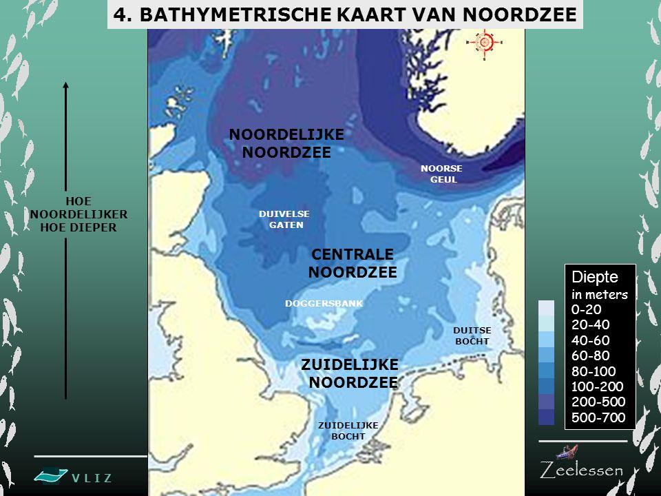V L I Z www.vliz.be Zeelessen NOORDELIJKE NOORDZEE CENTRALE NOORDZEE ZUIDELIJKE NOORDZEE NOORSE GEUL DOGGERSBANK DUIVELSE GATEN Diepte in meters 0-20