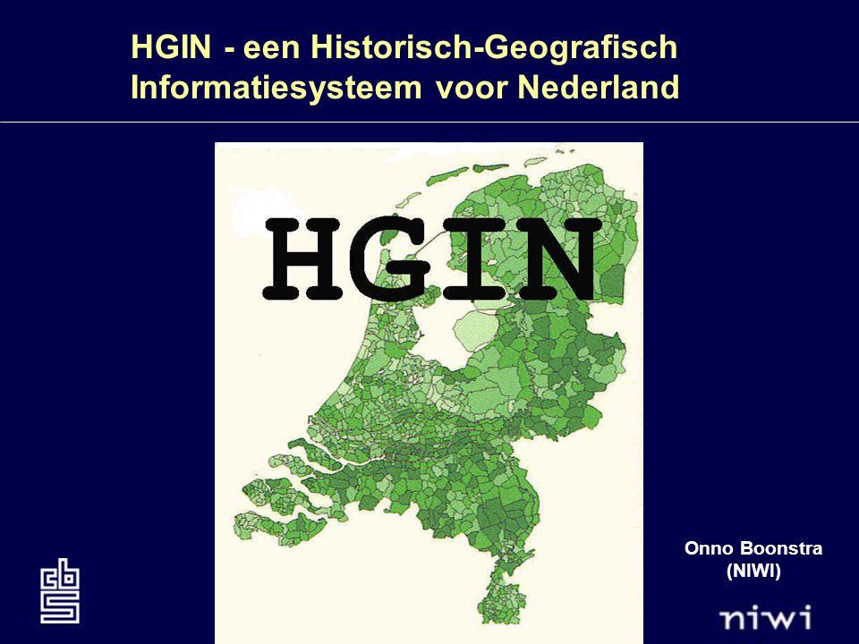 HGIN - een Historisch-Geografisch Informatiesysteem voor Nederland Bij het maken van kaarten ten behoeve van de volkstellingen doen zich problemen voor: 1.nog nauwelijks gedigitaliseerde kaarten beschikbaar NLKAART, 1830-1990 +geschikt voor alle tijdstippen tussen 1830 en 1980 eenvoudige opzet -grof gevectoriseerd exotisch GIS systeem XY-projectie incorrect kleine grenswijzigingen niet opgenomen