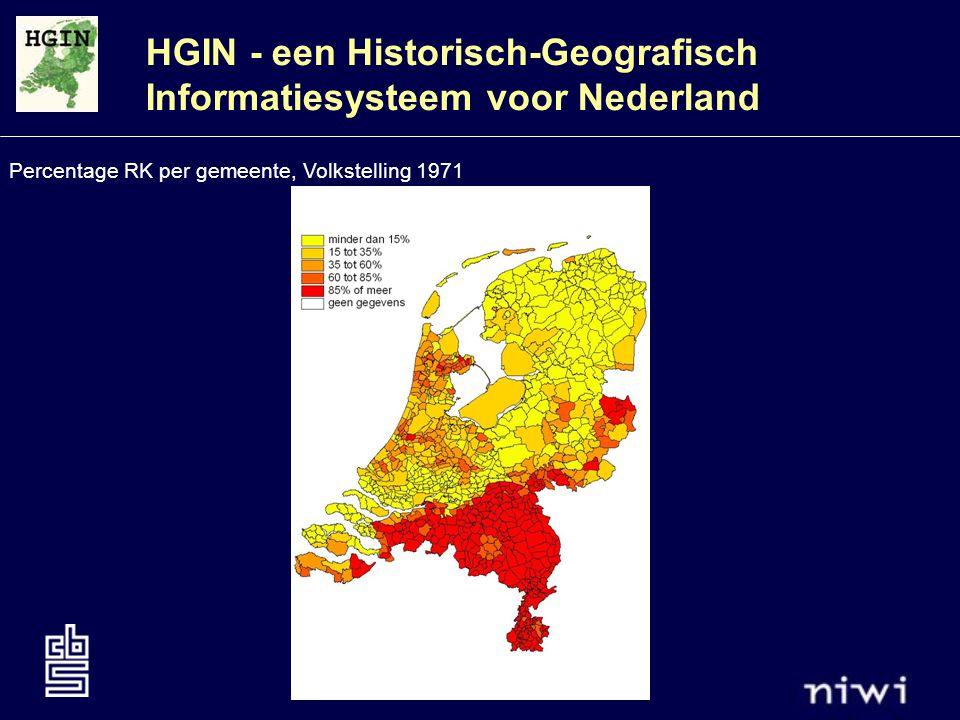 HGIN - een Historisch-Geografisch Informatiesysteem voor Nederland Percentage RK per wijk/buurt, Volkstelling 1971
