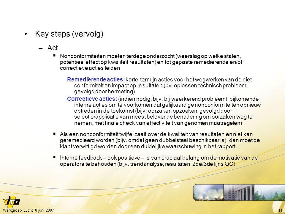 11 Werkgroep Lucht 8 juni 2007 Key steps (vervolg) –Act  Nonconformiteiten moeten terdege onderzocht (weerslag op welke stalen, potentieel effect op kwaliteit resultaten) en tot gepaste remediërende en/of correctieve acties leiden Remediërende acties: korte-termijn acties voor het wegwerken van de niet- conformiteit en impact op resultaten (bv.
