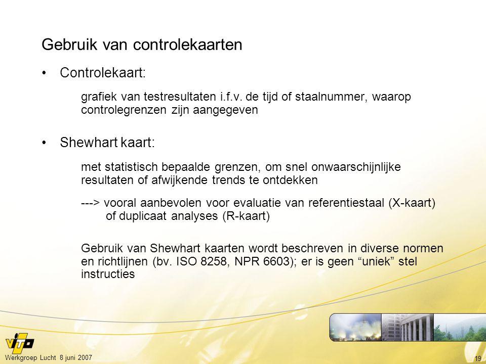 19 Werkgroep Lucht 8 juni 2007 Gebruik van controlekaarten Controlekaart: grafiek van testresultaten i.f.v. de tijd of staalnummer, waarop controlegre