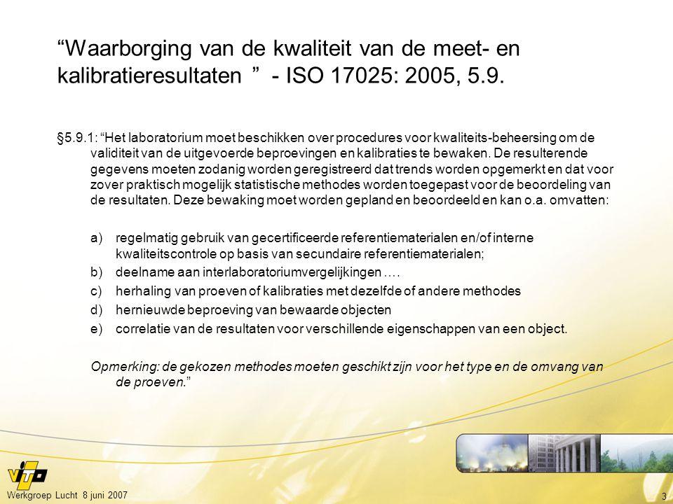 3 Werkgroep Lucht 8 juni 2007 Waarborging van de kwaliteit van de meet- en kalibratieresultaten - ISO 17025: 2005, 5.9.