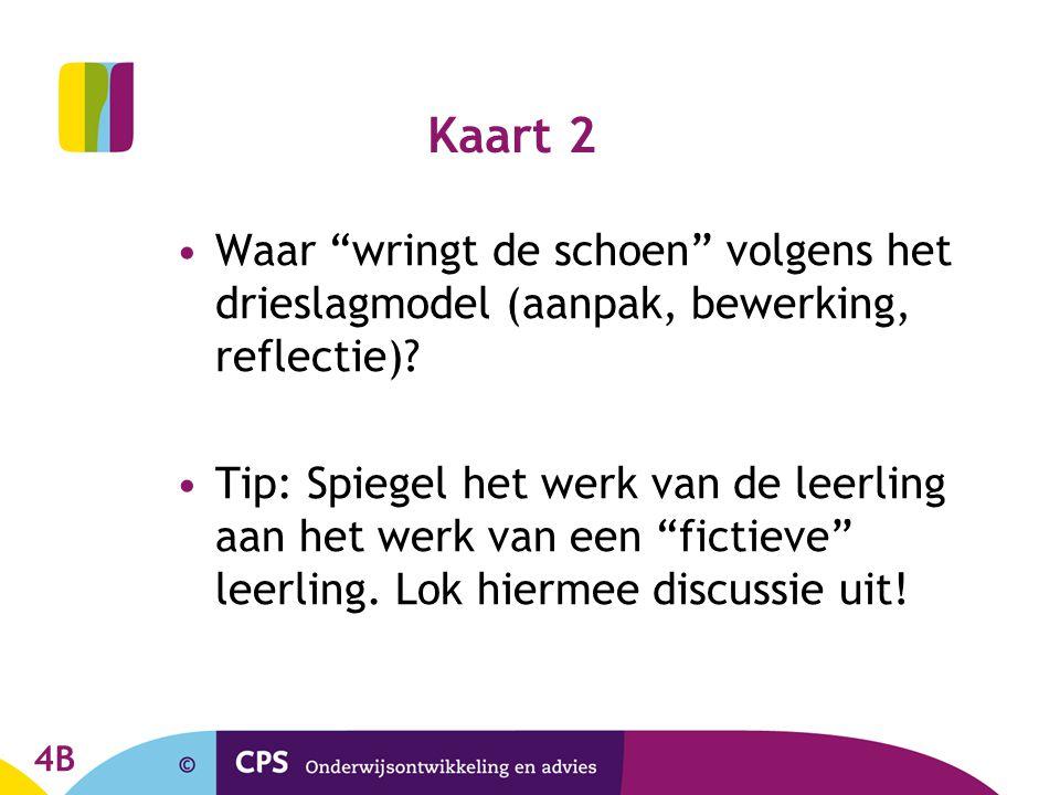 """Kaart 2 Waar """"wringt de schoen"""" volgens het drieslagmodel (aanpak, bewerking, reflectie)? Tip: Spiegel het werk van de leerling aan het werk van een """""""