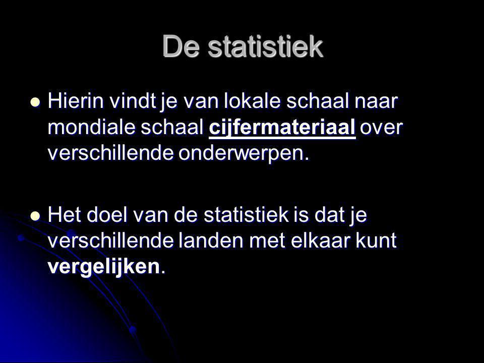 De statistiek Hierin vindt je van lokale schaal naar mondiale schaal cijfermateriaal over verschillende onderwerpen. Hierin vindt je van lokale schaal