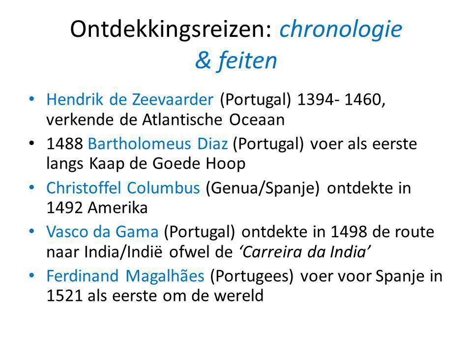 Ontdekkingsreizen: chronologie & feiten Hendrik de Zeevaarder (Portugal) 1394- 1460, verkende de Atlantische Oceaan 1488 Bartholomeus Diaz (Portugal)