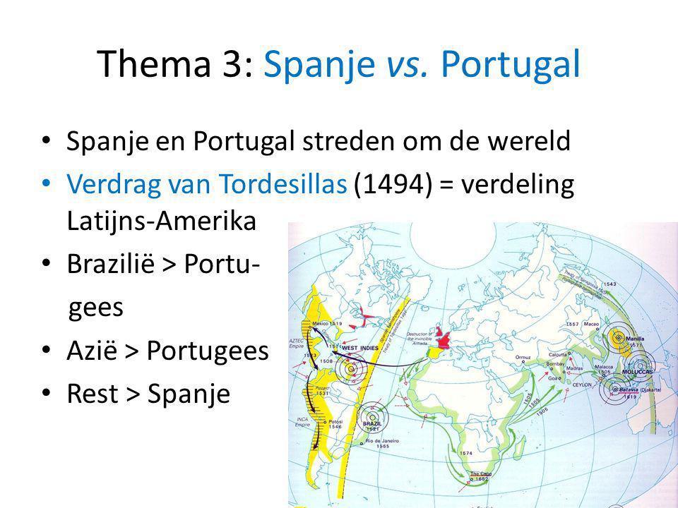 Thema 3: Spanje vs. Portugal Spanje en Portugal streden om de wereld Verdrag van Tordesillas (1494) = verdeling Latijns-Amerika Brazilië > Portu- gees
