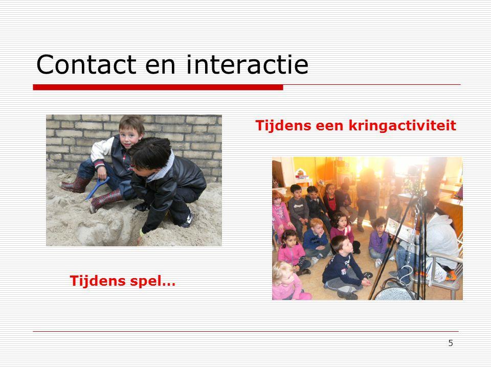5 Contact en interactie Tijdens een kringactiviteit Tijdens spel…