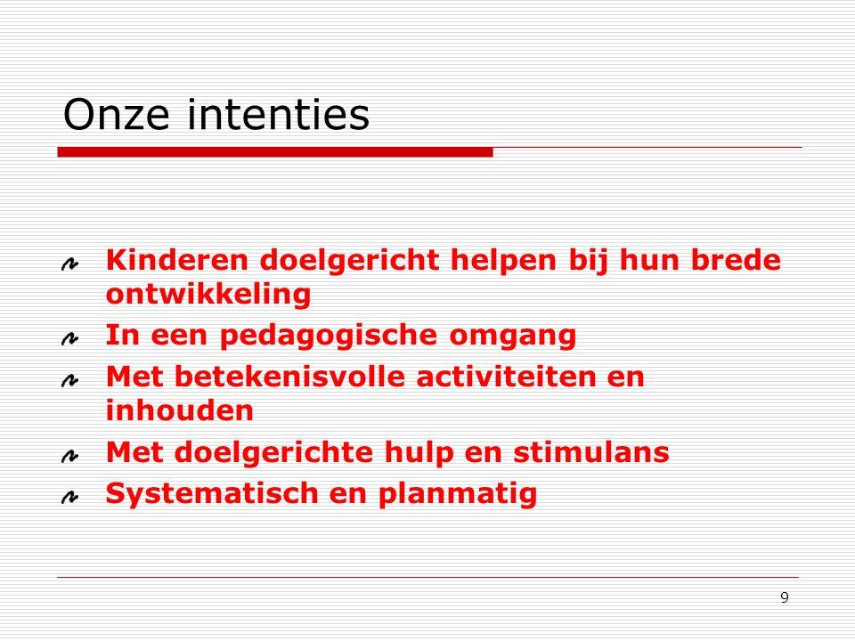 9 Kinderen doelgericht helpen bij hun brede ontwikkeling In een pedagogische omgang Met betekenisvolle activiteiten en inhouden Met doelgerichte hulp en stimulans Systematisch en planmatig Onze intenties