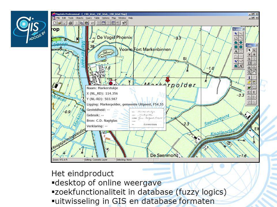 Het eindproduct  desktop of online weergave  zoekfunctionaliteit in database (fuzzy logics)  uitwisseling in GIS en database formaten