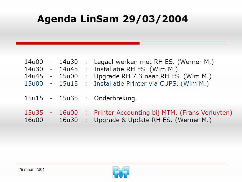 29 maart 2004 Agenda LinSam 29/03/2004 14u00 - 14u30 : Legaal werken met RH ES. (Werner M.) 14u30 - 14u45 : Installatie RH ES. (Wim M.) 14u45 - 15u00