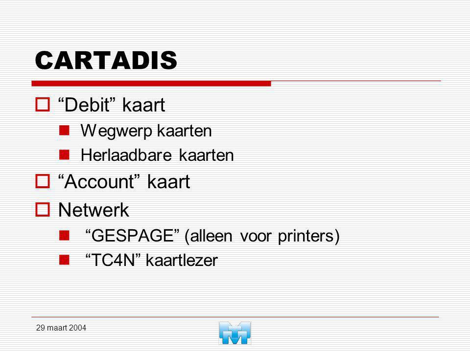 29 maart 2004 CARTADIS  Debit kaart Wegwerp kaarten Herlaadbare kaarten  Account kaart  Netwerk GESPAGE (alleen voor printers) TC4N kaartlezer