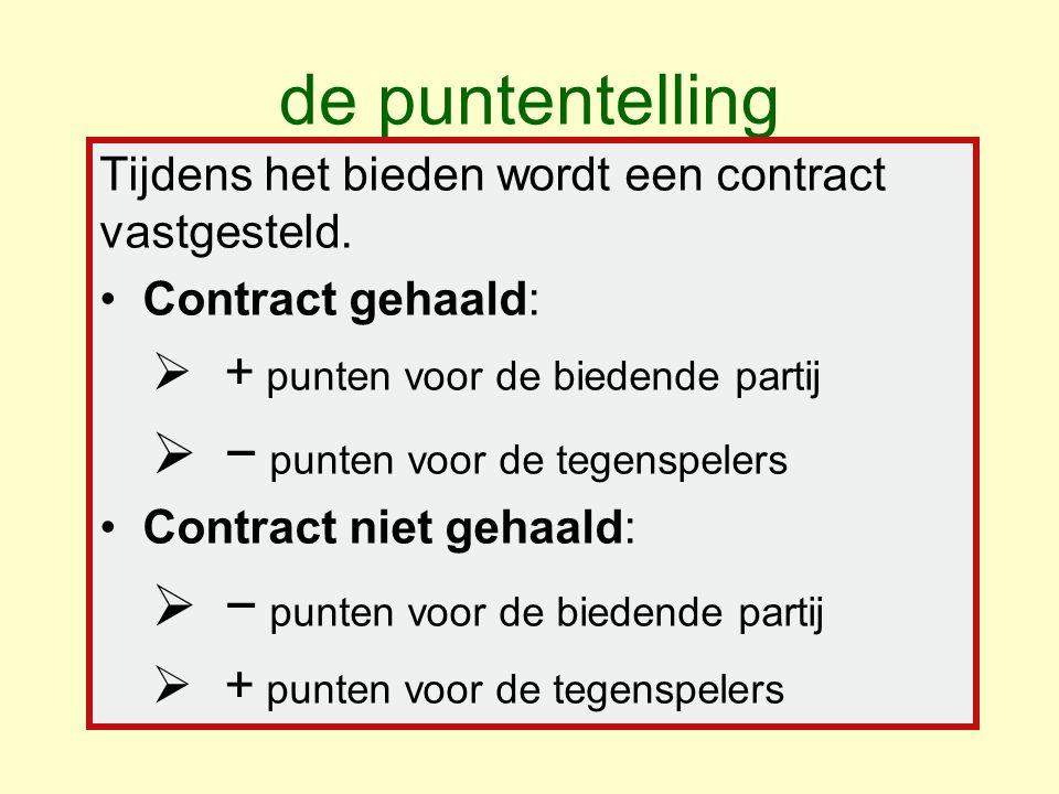 de puntentelling Tijdens het bieden wordt een contract vastgesteld.