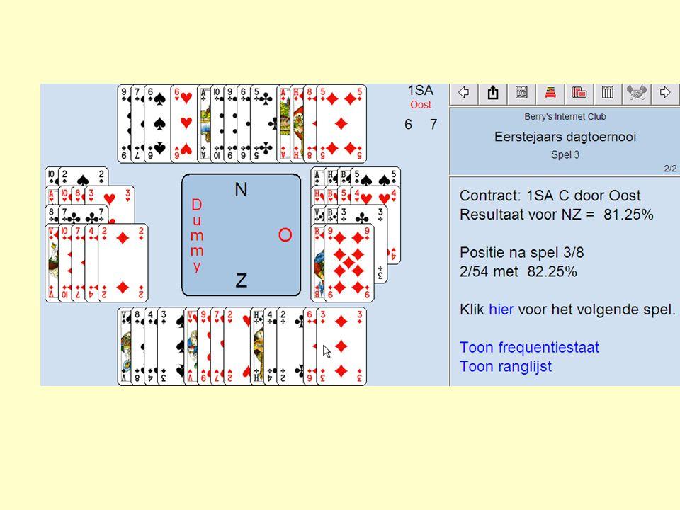 Doel: zoveel mogelijk slagen maken Twee in plaats van vier spelers Zuid speelt tegen Oost Hoeveel slagen maakt Zuid altijd.