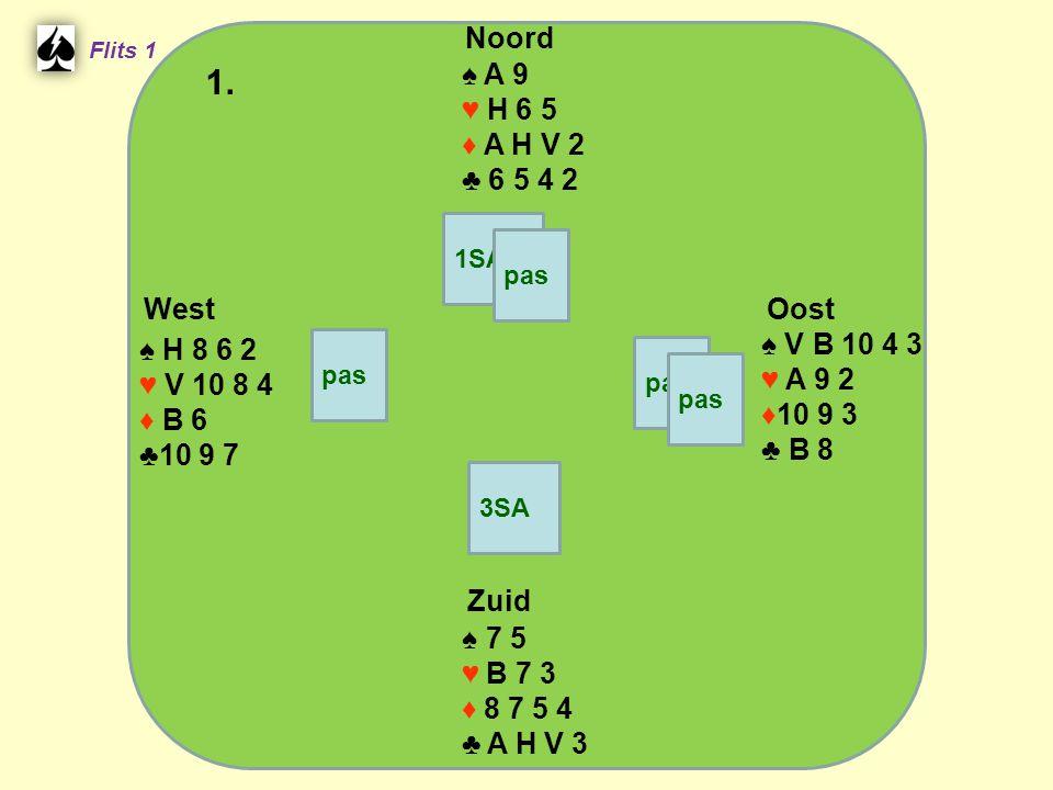 Zuid ♠ 7 5 ♥ B 7 3 ♦ 8 7 5 4 ♣ A H V 3 West ♠ H 8 6 2 ♥ V 10 8 4 ♦ B 6 ♣10 9 7 Noord ♠ A 9 ♥ H 6 5 ♦ A H V 2 ♣ 6 5 4 2 Oost ♠ V B 10 4 3 ♥ A 9 2 ♦10 9 3 ♣ B 8 1.
