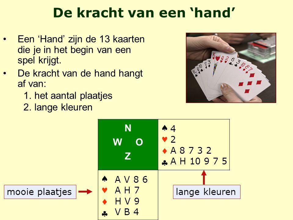 Een 'Hand' zijn de 13 kaarten die je in het begin van een spel krijgt.