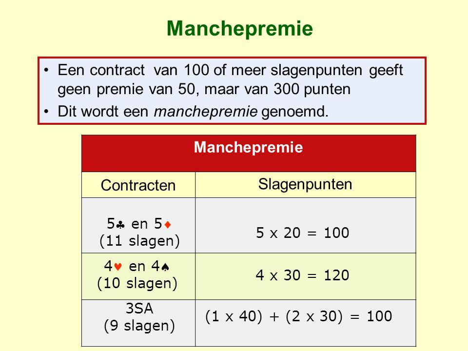 Manchepremie Een contract van 100 of meer slagenpunten geeft geen premie van 50, maar van 300 punten Dit wordt een manchepremie genoemd.