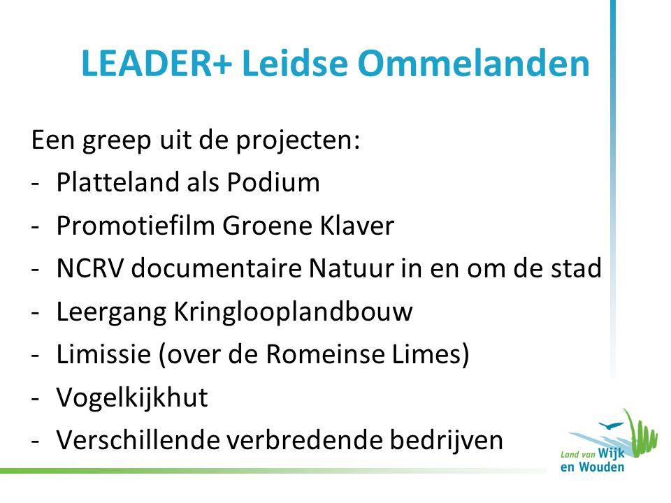 LEADER+ Leidse Ommelanden Een greep uit de projecten: -Platteland als Podium -Promotiefilm Groene Klaver -NCRV documentaire Natuur in en om de stad -L