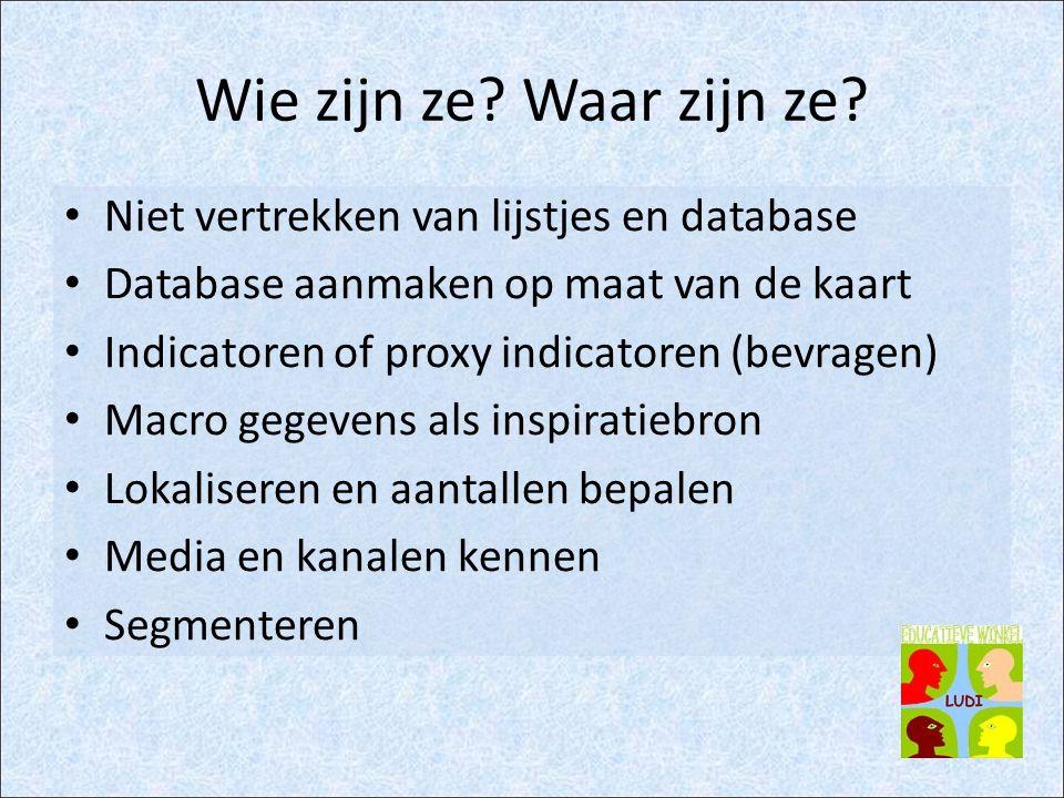 Wie zijn ze? Waar zijn ze? Niet vertrekken van lijstjes en database Database aanmaken op maat van de kaart Indicatoren of proxy indicatoren (bevragen)