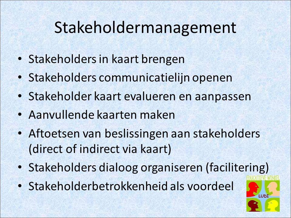 Stakeholdermanagement Stakeholders in kaart brengen Stakeholders communicatielijn openen Stakeholder kaart evalueren en aanpassen Aanvullende kaarten