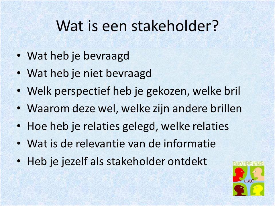 Wat is een stakeholder? Wat heb je bevraagd Wat heb je niet bevraagd Welk perspectief heb je gekozen, welke bril Waarom deze wel, welke zijn andere br
