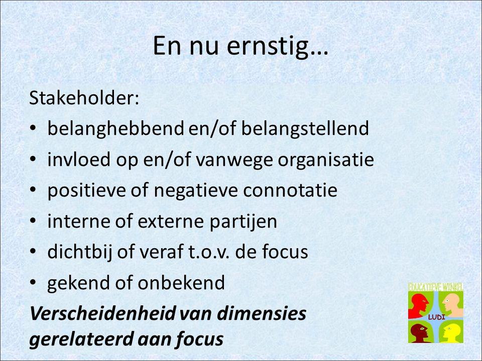 En nu ernstig… Stakeholder: belanghebbend en/of belangstellend invloed op en/of vanwege organisatie positieve of negatieve connotatie interne of externe partijen dichtbij of veraf t.o.v.