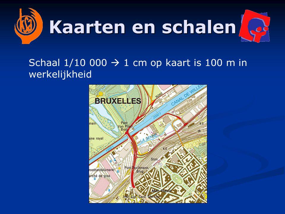 Kaarten en schalen Schaal 1/20 000  1 cm op kaart is 200 m in werkelijkheid