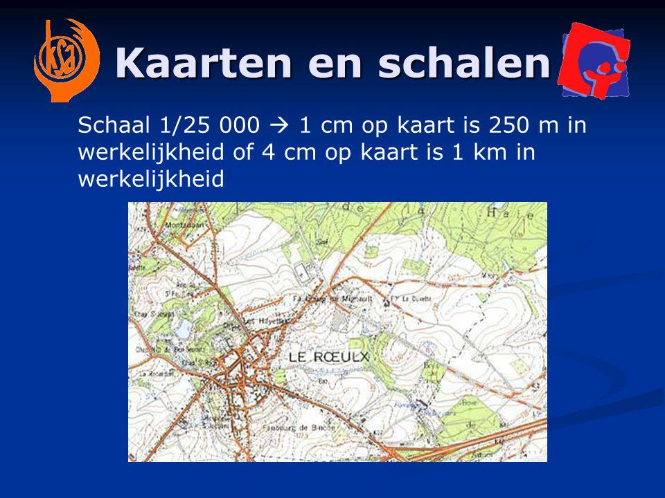 Kaarten en schalen Schaal 1/25 000  1 cm op kaart is 250 m in werkelijkheid of 4 cm op kaart is 1 km in werkelijkheid