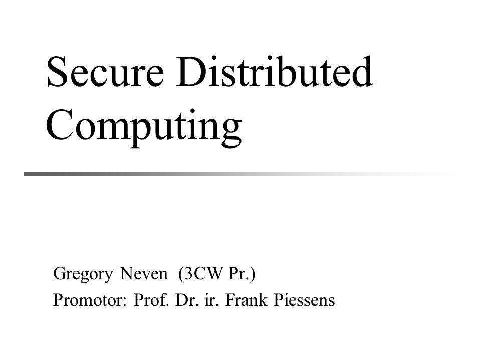 Algemeen probleem Fysische oplossing Concreet protocol Privacy voor mobiele code Besluit 12 Doorgeven geëncrypteerd circuit Alice  Bob: –het geconstrueerde tuple van elke poort –R –de coderingen van haar eigen invoerbits: Hoe kan Bob de codering van zijn eigen invoerbits krijgen?