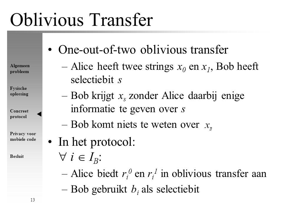 Algemeen probleem Fysische oplossing Concreet protocol Privacy voor mobiele code Besluit 13 Oblivious Transfer One-out-of-two oblivious transfer –Alice heeft twee strings x 0 en x 1, Bob heeft selectiebit s –Bob krijgt x s zonder Alice daarbij enige informatie te geven over s –Bob komt niets te weten over In het protocol:  i  I B : –Alice biedt r i 0 en r i 1 in oblivious transfer aan –Bob gebruikt b i als selectiebit