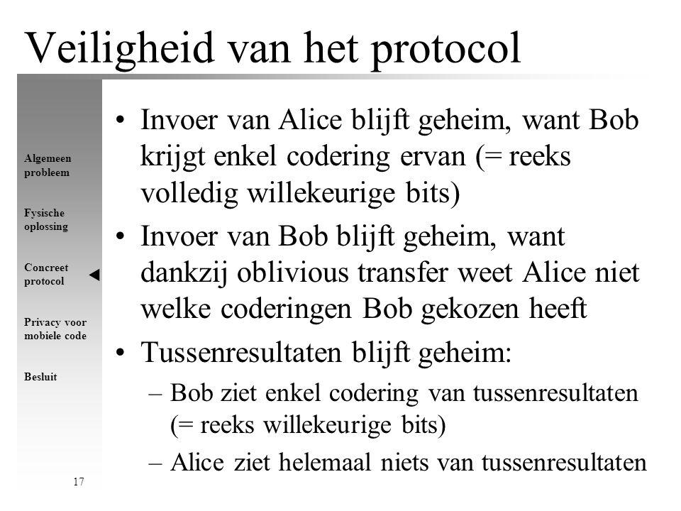 Algemeen probleem Fysische oplossing Concreet protocol Privacy voor mobiele code Besluit 17 Veiligheid van het protocol Invoer van Alice blijft geheim, want Bob krijgt enkel codering ervan (= reeks volledig willekeurige bits) Invoer van Bob blijft geheim, want dankzij oblivious transfer weet Alice niet welke coderingen Bob gekozen heeft Tussenresultaten blijft geheim: –Bob ziet enkel codering van tussenresultaten (= reeks willekeurige bits) –Alice ziet helemaal niets van tussenresultaten