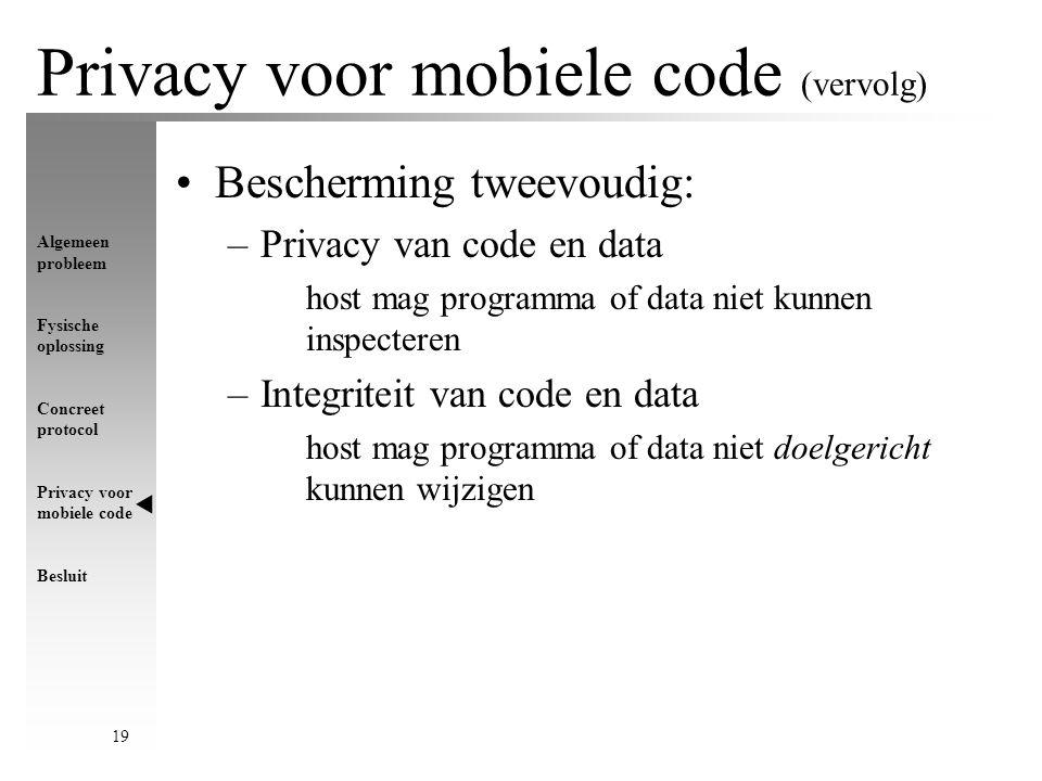 Algemeen probleem Fysische oplossing Concreet protocol Privacy voor mobiele code Besluit 19 Privacy voor mobiele code (vervolg) Bescherming tweevoudig: –Privacy van code en data host mag programma of data niet kunnen inspecteren –Integriteit van code en data host mag programma of data niet doelgericht kunnen wijzigen