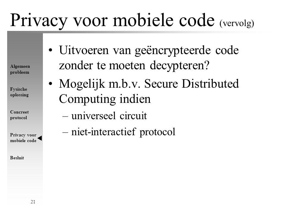 Algemeen probleem Fysische oplossing Concreet protocol Privacy voor mobiele code Besluit 21 Uitvoeren van geëncrypteerde code zonder te moeten decypteren.
