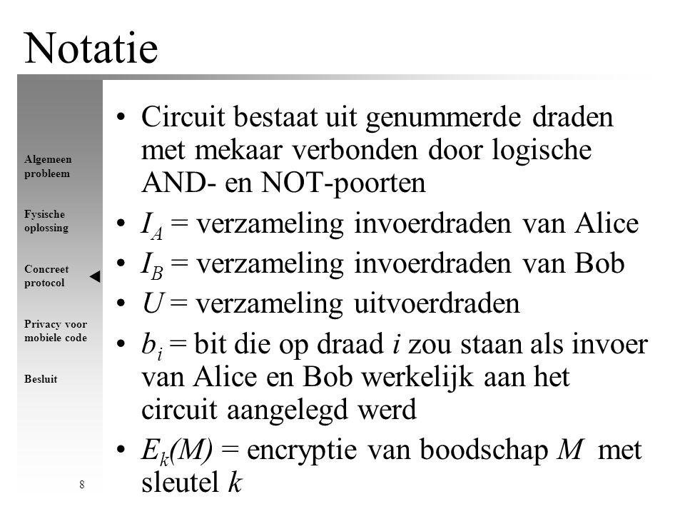 Algemeen probleem Fysische oplossing Concreet protocol Privacy voor mobiele code Besluit 9 Encryptie van het circuit Alice kiest voor elke draad i twee willekeurige bitstrings r i 0 en r i 1 Centraal idee: Bob komt tijdens evaluatie enkel te weten, maar weet niets over Hoe.