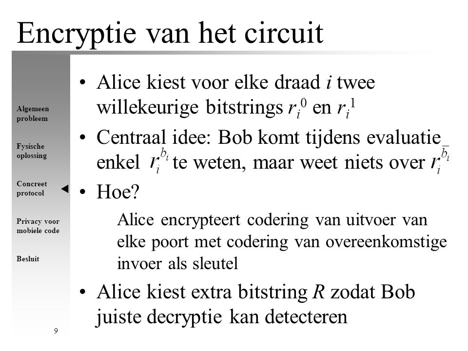 Algemeen probleem Fysische oplossing Concreet protocol Privacy voor mobiele code Besluit 10 Encryptie van een NOT-poort NOT-poort met invoerdraad in en uitvoerdraad uit Alice construeert willekeurige permutatie van het tuple