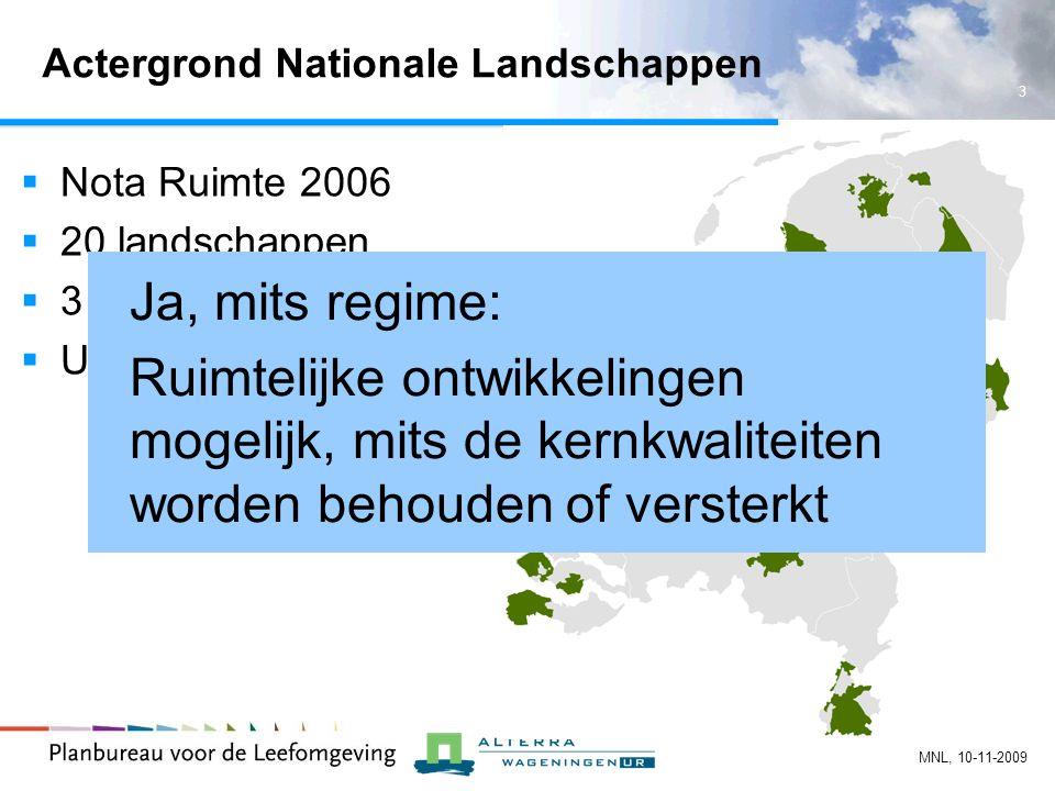 3 MNL, 10-11-2009 Actergrond Nationale Landschappen  Nota Ruimte 2006  20 landschappen  3 kernkwaliteiten per landschap  Uitwerking door provincies Ja, mits regime: Ruimtelijke ontwikkelingen mogelijk, mits de kernkwaliteiten worden behouden of versterkt