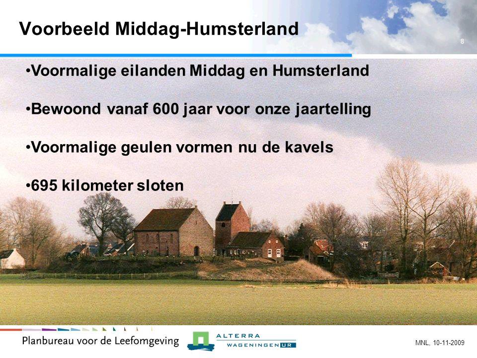 8 MNL, 10-11-2009 Voorbeeld Middag-Humsterland Voormalige eilanden Middag en Humsterland Bewoond vanaf 600 jaar voor onze jaartelling Voormalige geulen vormen nu de kavels 695 kilometer sloten