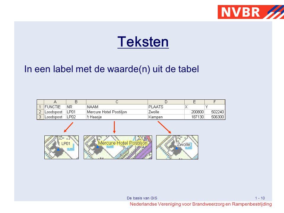 Nederlandse Vereniging voor Brandweerzorg en Rampenbestrijding De basis van GIS1 - 10 Teksten In een label met de waarde(n) uit de tabel