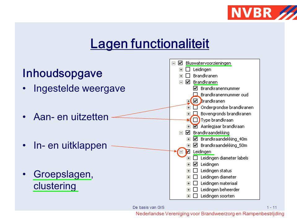 Nederlandse Vereniging voor Brandweerzorg en Rampenbestrijding De basis van GIS1 - 11 Lagen functionaliteit Inhoudsopgave Ingestelde weergave Aan- en uitzetten In- en uitklappen Groepslagen, clustering