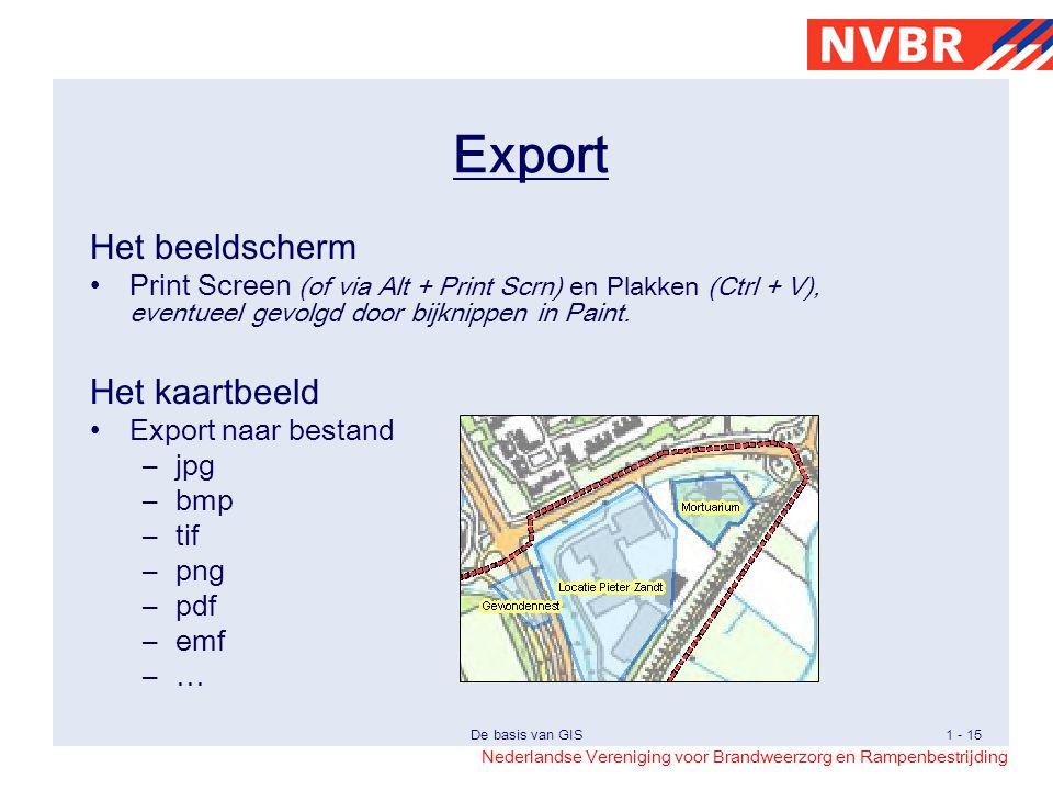 Nederlandse Vereniging voor Brandweerzorg en Rampenbestrijding De basis van GIS1 - 15 Het beeldscherm Print Screen (of via Alt + Print Scrn) en Plakken (Ctrl + V), eventueel gevolgd door bijknippen in Paint.