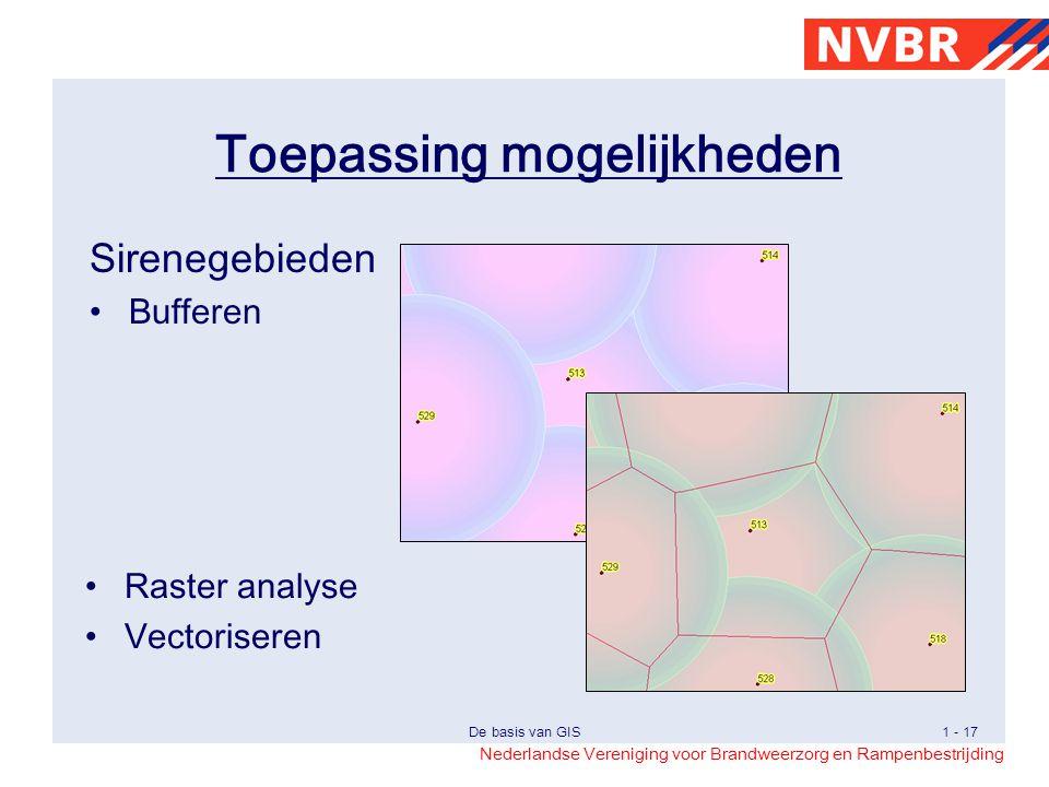 Nederlandse Vereniging voor Brandweerzorg en Rampenbestrijding De basis van GIS1 - 17 Toepassing mogelijkheden Sirenegebieden Bufferen Raster analyse Vectoriseren