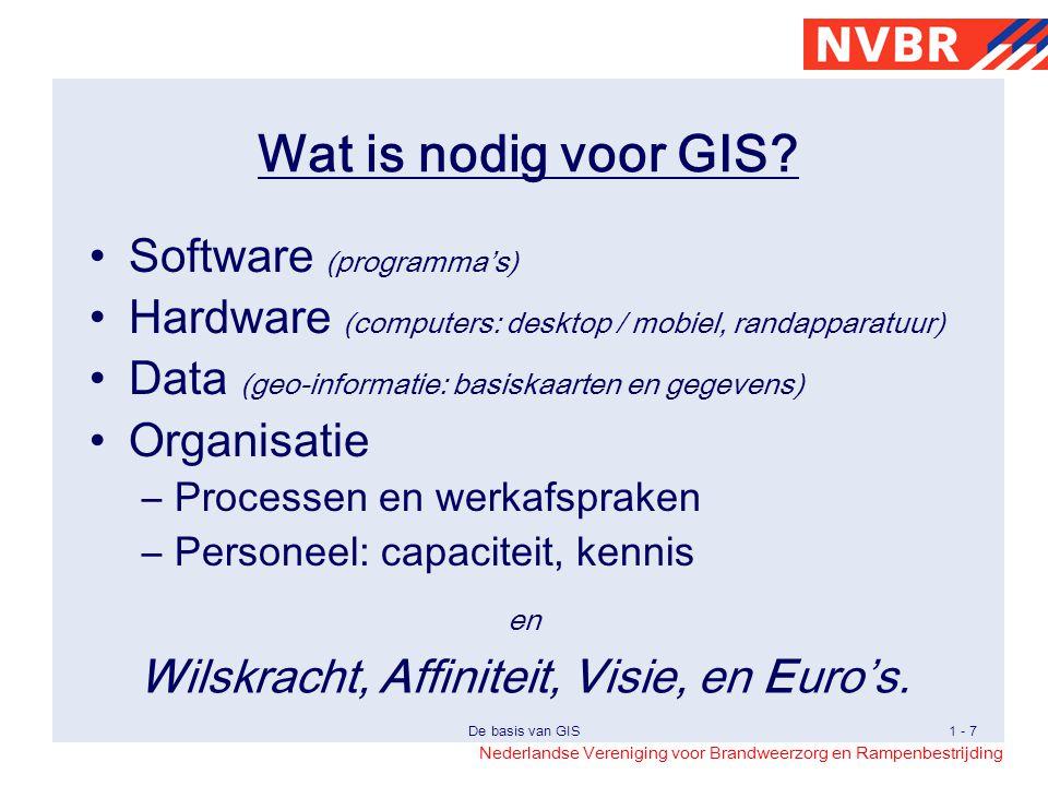 Nederlandse Vereniging voor Brandweerzorg en Rampenbestrijding De basis van GIS1 - 18 Analyse Weg Water Buffer 15m Overlap Resultaat Bestand met de risicolocaties Risico-locaties: 'Auto te water'